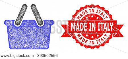 Network Shopping Bag Icon, And Made In Italy Textured Ribbon Stamp Seal. Red Stamp Seal Includes Mad