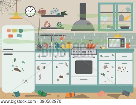 Dirty Messy Kitchen With Stained Furniture Flat Cartoon Vector Illustration.