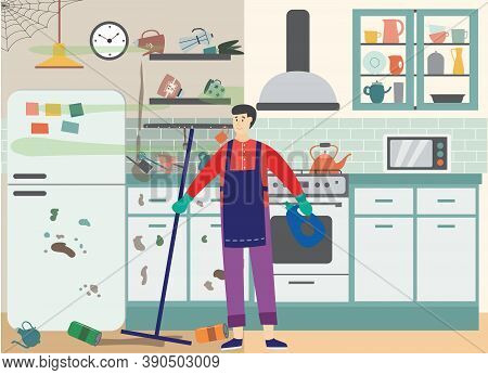 Male Cleaner Is Cleaning Mess And Garbage In Kitchen A Vector Flat Illustration