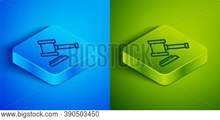 Isometric Line Judge Gavel Icon Isolated On Blue And Green Background. Gavel For Adjudication Of Sen