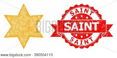 Wire Frame Six Corner Star Icon, And Saint Grunge Ribbon Seal. Red Stamp Seal Includes Saint Caption