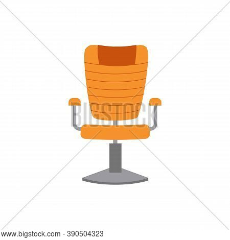 Swivel Office Comfortable Leather Armchair, Flat Vector Illustration Isolated.