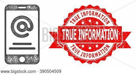Network Smartphone Address Info Icon, And True Information Dirty Ribbon Seal Imitation. Red Stamp Se