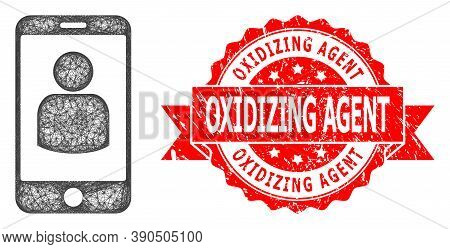 Wire Frame Smartphone User Icon, And Oxidizing Agent Unclean Ribbon Seal Print. Red Seal Includes Ox