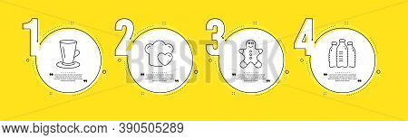 Teacup, Love Cooking And Gingerbread Man Line Icons Set. Timeline Process Infograph. Water Bottles S