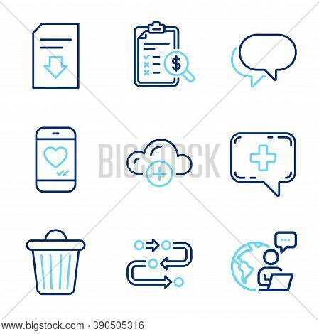 Technology Icons Set. Included Icon As Talk Bubble, Download File, Trash Bin Signs. Methodology, Med