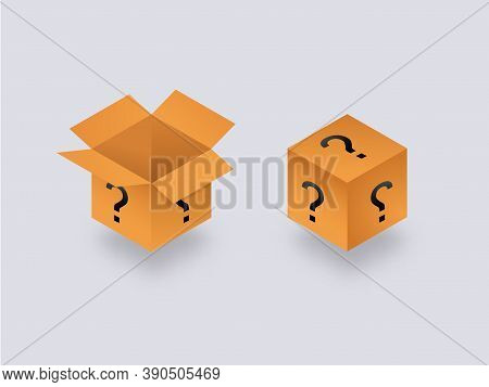 Mysterious Secret Box Open And Closed Isometry. Cube Packaging With Yellow Question Marks Unknown Pa