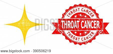 Network Space Star Icon, And Throat Cancer Dirty Ribbon Seal. Red Stamp Seal Has Throat Cancer Title