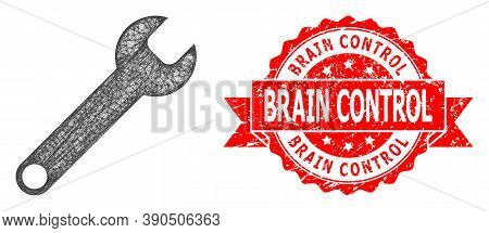 Network Spanner Icon, And Brain Control Rubber Ribbon Seal Imitation. Red Seal Has Brain Control Tag
