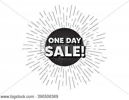 One Day Sale. Vintage Star Burst Banner. Special Offer Price Sign. Advertising Discounts Symbol. Hip