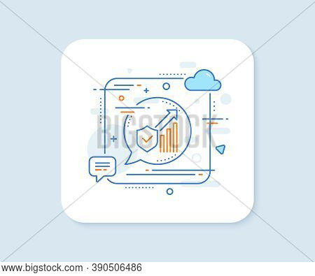 Security Statistics Line Icon. Abstract Square Vector Button. Cyber Defence Sign. Private Protection