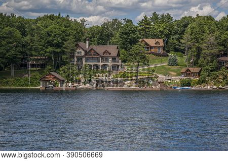 Ivy Lea, Ontario, Canada, July 2012 - Luxury Cottages And Bungalows On The Coastline Of The Thousand