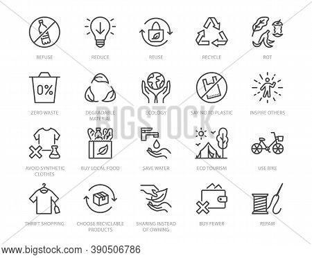 Zero Waste Lifestyle Flat Line Icons Set. Refuse, Reduce, Reuse, Recycle, Leaves Circle, Save Water,