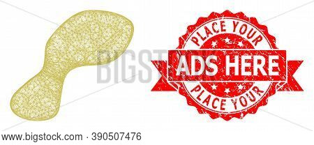Wire Frame Spot Icon, And Place Your Ads Here Rubber Ribbon Stamp Seal. Red Stamp Seal Has Place You