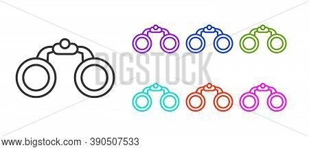 Black Line Binoculars Icon Isolated On White Background. Find Software Sign. Spy Equipment Symbol. S
