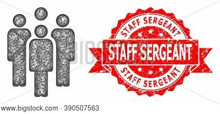Wire Frame Staff Icon, And Staff Sergeant Textured Ribbon Seal Imitation. Red Seal Contains Staff Se