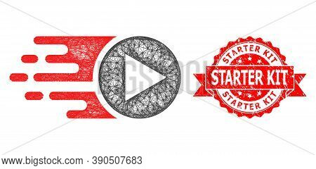 Wire Frame Start Play Icon, And Starter Kit Scratched Ribbon Stamp. Red Stamp Has Starter Kit Captio