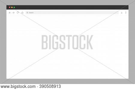 Web Browser Window. Blank Web Page. Internet Browser In Light Style. Website Mockup With Toolbar. Co