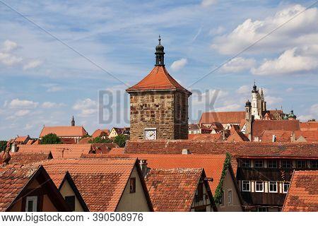 Rotenburg On Tauber, Bavaria, Germany - 12 Sep 2015: The View In Roofs Of Rotenburg On Tauber In Ger