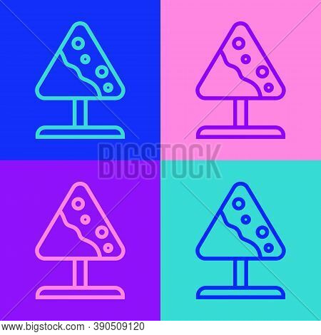 Pop Art Line Road Sign Avalanches Icon Isolated On Color Background. Snowslide Or Snowslip Rapid Flo