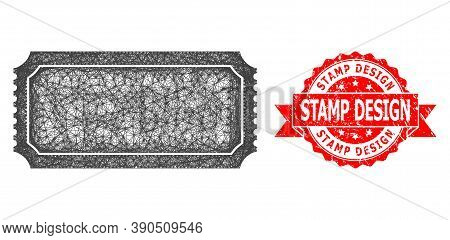 Wire Frame Ticket Template Icon, And Stamp Design Scratched Ribbon Seal. Red Stamp Seal Includes Sta
