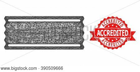 Wire Frame Ticket Template Icon, And Accredited Dirty Ribbon Seal Imitation. Red Seal Includes Accre