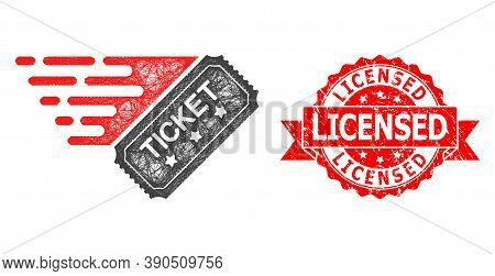 Wire Frame Ticket Icon, And Licensed Scratched Ribbon Seal Imitation. Red Stamp Seal Has Licensed Ti