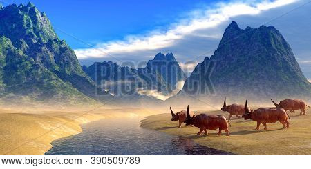 Elasmotherium Herd 3d Illustration - Elasmotherium Was A Horned Rhinoceros Mammal That Lived In Russ