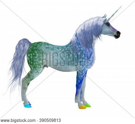 Fantasy Unicorn 3d Illustration - This Colorful Fantasy Unicorn Is A Legendary Creature Of Mythology