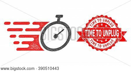 Wire Frame Time Tracker Icon, And Time To Unplug Unclean Ribbon Seal Imitation. Red Stamp Seal Conta
