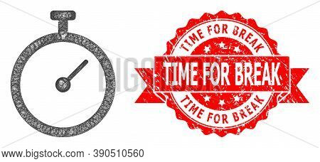 Wire Frame Time Tracker Icon, And Time For Break Scratched Ribbon Seal Print. Red Stamp Seal Include