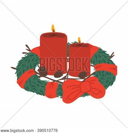 Traditional Christmas Red Candles In Evergreen Decorated Wreath Vector Illustration