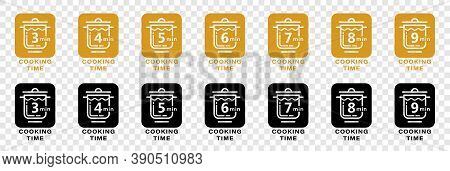 Cook 5 Minutes Icon For Cereal And Pasta Cooking Time On Food Package. Vector Saucepan And 5 Minutes