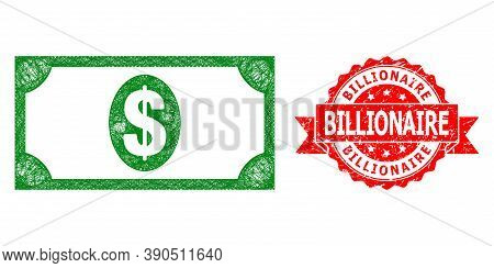 Wire Frame Usd Banknote Icon, And Billionaire Scratched Ribbon Stamp. Red Stamp Seal Contains Billio