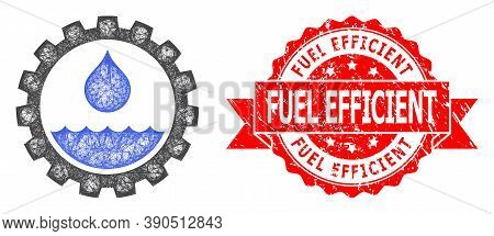 Network Water Service Icon, And Fuel Efficient Dirty Ribbon Stamp Seal. Red Stamp Seal Includes Fuel