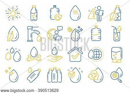 Water Drop Line Icons. Set Of Bottle, Antibacterial Filter And Tap Water Linear Icons. Bacteria, Coo