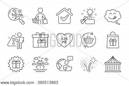 Holidays Shopping, Refresh Cart And Delivery Boxes Line Icons Set. Carousels, Search Flight And Crea