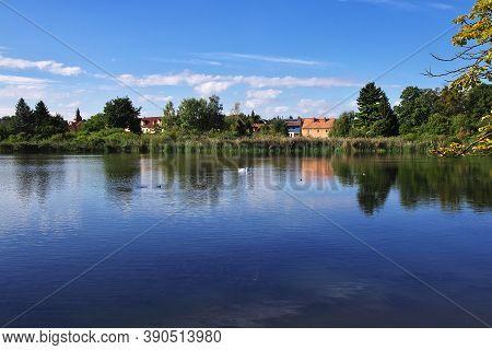 The Lake In Moritzburg Schloss In Germany, Saxony
