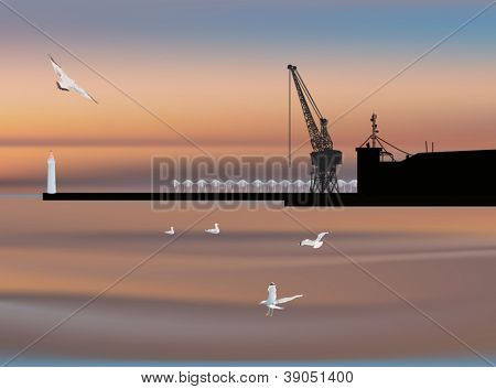 illustration with dock silhouette at sunset