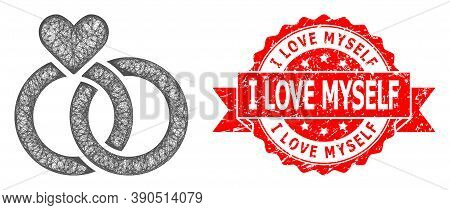 Wire Frame Wedding Rings Icon, And I Love Myself Rubber Ribbon Stamp. Red Stamp Includes I Love Myse
