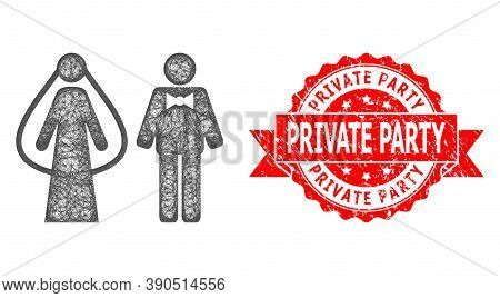 Net Weds Persons Icon, And Private Party Unclean Ribbon Seal. Red Stamp Seal Has Private Party Title