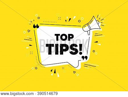 Top Tips Symbol. Megaphone Yellow Vector Banner. Education Faq Sign. Best Help Assistance. Thought S