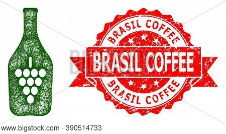 Wire Frame Wine Bottle Icon, And Brasil Coffee Corroded Ribbon Seal Imitation. Red Seal Contains Bra