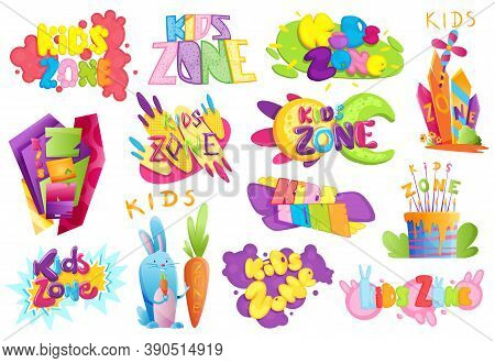 Kids Zones Set. Children Playground Game Room Or Center Emblems. Playroom Banners In Cartoon Style F