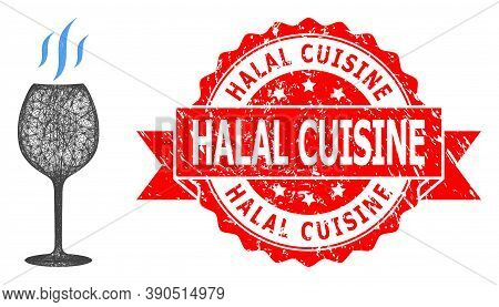 Wire Frame Wine Flavour Icon, And Halal Cuisine Rubber Ribbon Watermark. Red Seal Contains Halal Cui