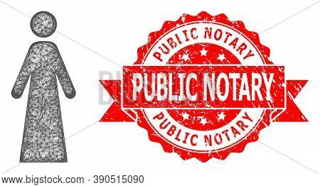 Wire Frame Woman Icon, And Public Notary Scratched Ribbon Seal Print. Red Stamp Seal Includes Public