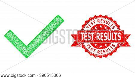 Wire Frame Yes Tick Icon, And Test Results Grunge Ribbon Stamp. Red Stamp Includes Test Results Tag