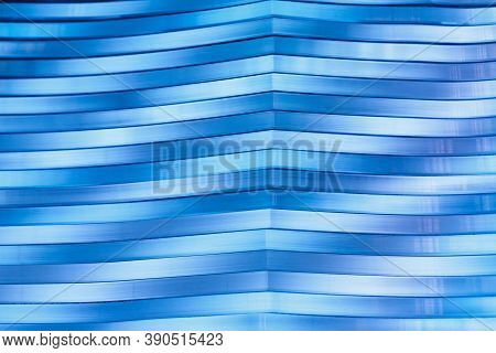 Surface, Geometric Pattern Of The Ends Of Thick Glass. Blue Glass Background, Diagonal Lines And Str