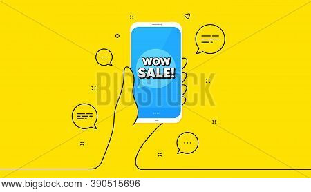 Wow Sale. Hand Hold Phone. Yellow Banner With Continuous Line. Special Offer Price Sign. Advertising