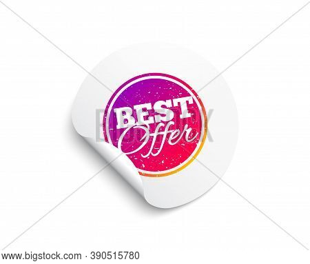 Best Offer Sticker. Circle Sticker With Offer Banner. Discount Banner Shape. Sale Coupon Bubble Icon